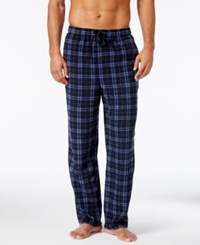Perry Ellis Men's Plaid Fleece Pajama Pants Light Blue Navy