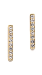 Elizabeth And James Braque Bar Stud Earrings Gold White Topaz