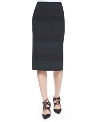 Veronica Beard Birch Striped Pencil Skirt Green