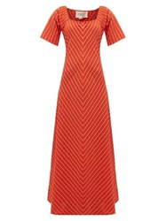 Ace And Jig Jamie Striped Cotton Jacquard Maxi Dress Red