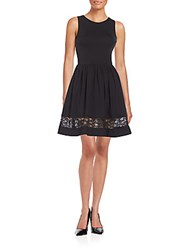 Saks Fifth Avenue Red Ponte Knit Fit And Flare Dress Black