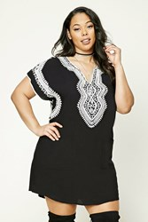 Forever 21 Plus Size Embroidered Dress Black Cream