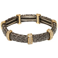 Adele Marie Textured Tube And Crystal Bar Stretch Bracelet Grey