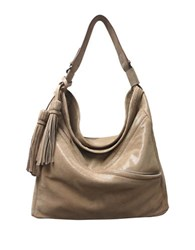 Sondra Roberts Lizard Textured Leather Mini Hobo Bag Taupe