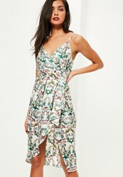Missguided White Silky Drape Floral Shift Dress