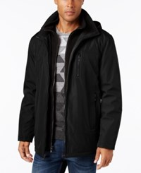 Calvin Klein Men's Big And Tall Hooded Fleece Lined Coat Black