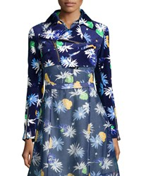 Creatures Of The Wind Floral Print Cropped Moto Jacket Navy Multi Women's