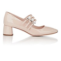 Miu Miu Women's Crystal Buckle Pumps Beige Light Pink Beige Light Pink