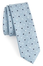 Boss Dot Cotton And Silk Skinny Tie Blue