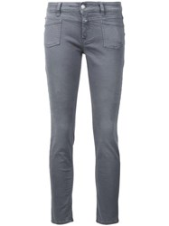 Closed Front Pocket Skinny Jeans Grey