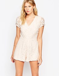 Love Plunge Neck Playsuit In Lace Pink