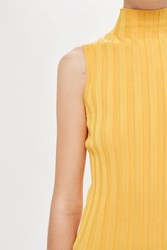 Topshop Sleeveless Funnel Neck Ribbed Knitted Top By Boutique Yellow