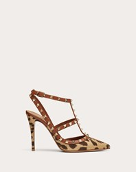 Valentino Garavani Rockstud Leopard Print Canvas Pump With Straps 100Mm Multicoloured Cotton 100
