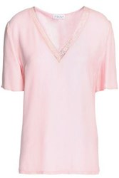 Claudie Pierlot Lace Trimmed Satin T Shirt Baby Pink