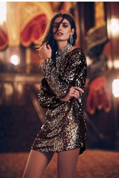 Free People Tarnished Gold Sequin Tunic