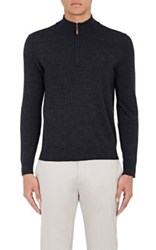 Piattelli Men's Merino Wool Mock Turtleneck Sweater Dark Grey