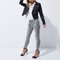 River Island Petite Grey Ripped Molly Skinny Jeggings