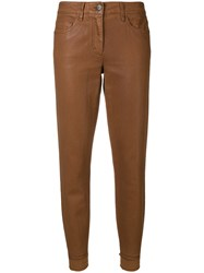 Luisa Cerano Coated Tapered Leg Jeans Brown