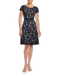 Nue By Shani Cutout Floral Fit And Flare Dress Navy Nude