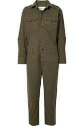 Current Elliott The Crew Coverall Polka Dot Cotton Blend Jumpsuit Army Green