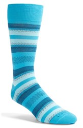 Men's Lorenzo Uomo Stripe And Zigzag Socks Blue 3 For 30 Aqua Blue
