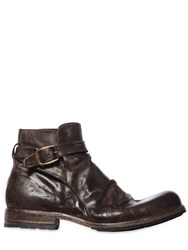 Shoto Vintage Effect Washed Leather Boots Brown