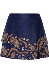 Suno Embroidered Silk Mini Skirt