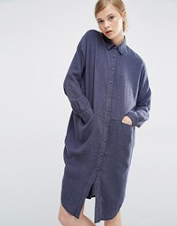 Paisie Shirt Dress With Side Pockets Denim Blue Grey
