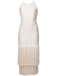 Christian Siriano Beaded Fringe Dress Nude And Neutrals