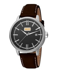 Just Cavalli 42Mm Men's Relaxed Patch Watch W Calf Leather Strap Black
