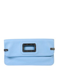 Calfskin Fold Over Clutch Bag Sky Black Tomas Maier