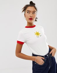 Lazy Oaf Fitted Ringer Tee With Not Ok Sun Embroidery White