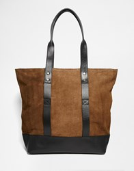 River Island Tote Bag In Leather And Suede Brown