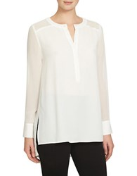 1.State Long Sleeve Split Neck Tunic New Ivory