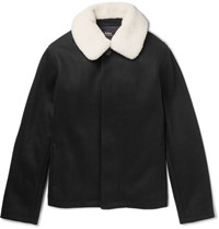 A.P.C. Davy Shearling Trimmed Wool Blend Blouson Jacket Black
