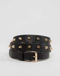 Vero Moda Studded Embossed Belt Black