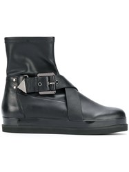 Emporio Armani Buckled Boots Calf Leather Leather Plastic Rubber 37.5 Brown