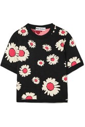Molly Goddard Sammy Cropped Intarsia Knit Sweater Black