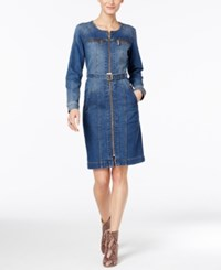 Inc International Concepts Belted Denim Shirtdress Only At Macy's Seabreeze Wash