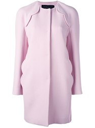 Giambattista Valli Scalloped Detailing Coat Pink Purple