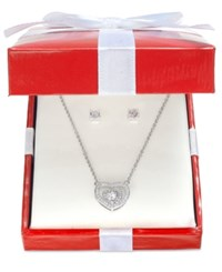 Giani Bernini Cubic Zirconia Heart Pendant Necklace And Earring Gift Set In Sterling Silver Only At Macy's