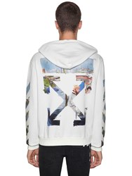 Off White Printed Arrow Cotton Jersey Hoodie Off White