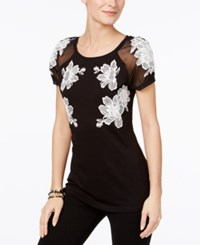 Inc International Concepts Embroidered Illusion T Shirt Only At Macy's Deep Black
