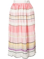 Monique Lhuillier Striped Midi Skirt Women Silk 8 White