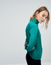 Weekday Slinky High Neck Blouse Green