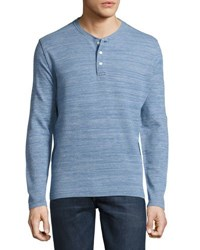 Faherty Jacquard Fitted Henley Shirt Indigo