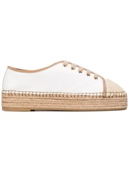 Santoni Lace Up Espadrilles Women Raffia Leather Rubber 39 White