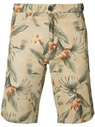 Eleventy Floral Print Shorts Brown