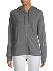 Marc New York Star Embroidered Full Zip Hoodie Grey