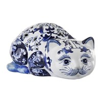 Pols Potten Porcelain Piggy Bank Blue White Cat